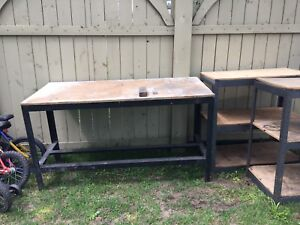 2 Metal work benches.