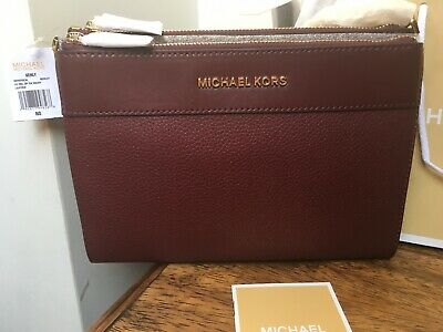 Michael Kors Kenly Double Zip Crossbody Bag In Merlot Burgundy Red *BNWT*