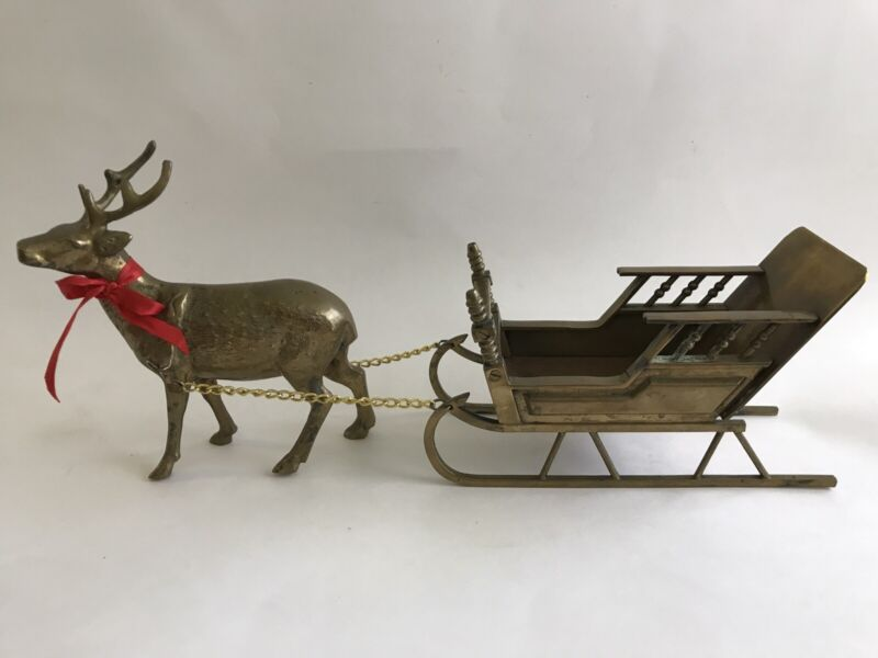 Vintage Brass Reindeer and Sleigh Christmas Decor Candy Dish Display Holiday