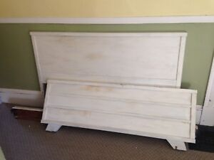 Vintage Solid Wood Double Bed, Headboard, Footboard and Rails