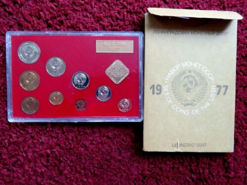 1977 RUSSIAN 9 COIN AND TOKEN MINT SET IN ORIGINAL USSR PACKAGING.!