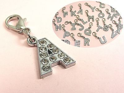 Crystal Alphabet (CLEAR Crystal LETTER Initial Alphabet w/14mm LOBSTER CLIP On CHARM  ~A - Z PICK~)