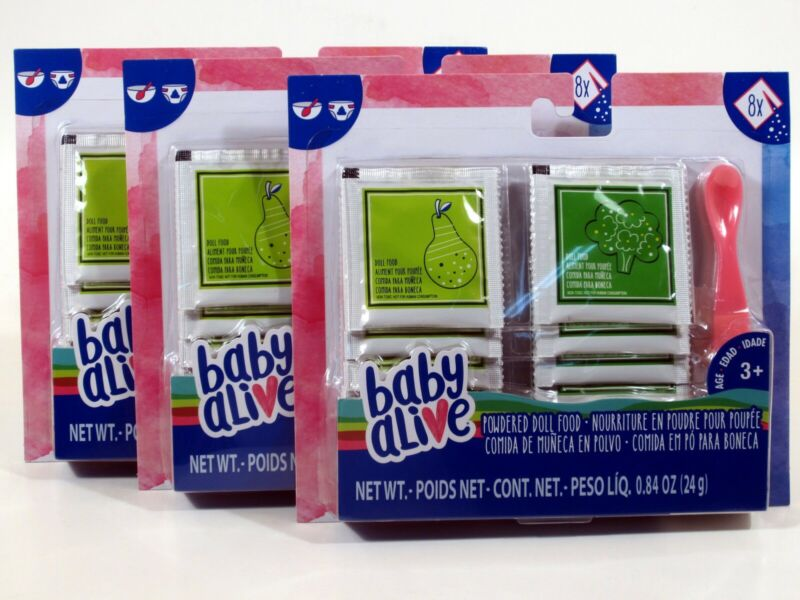 Baby Alive Powdered Doll Food Lot of 3 - Total of 24 packs with 3 Spoons!