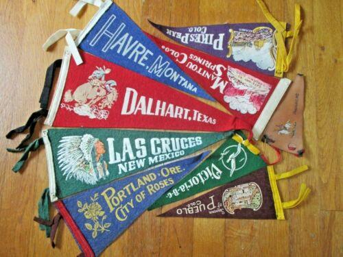 9 VINTAGE PENNANTS-COLORADO-TEXAS-OREGON-MONTANA-NEW MEXICO-CANADA-1940s-1050s