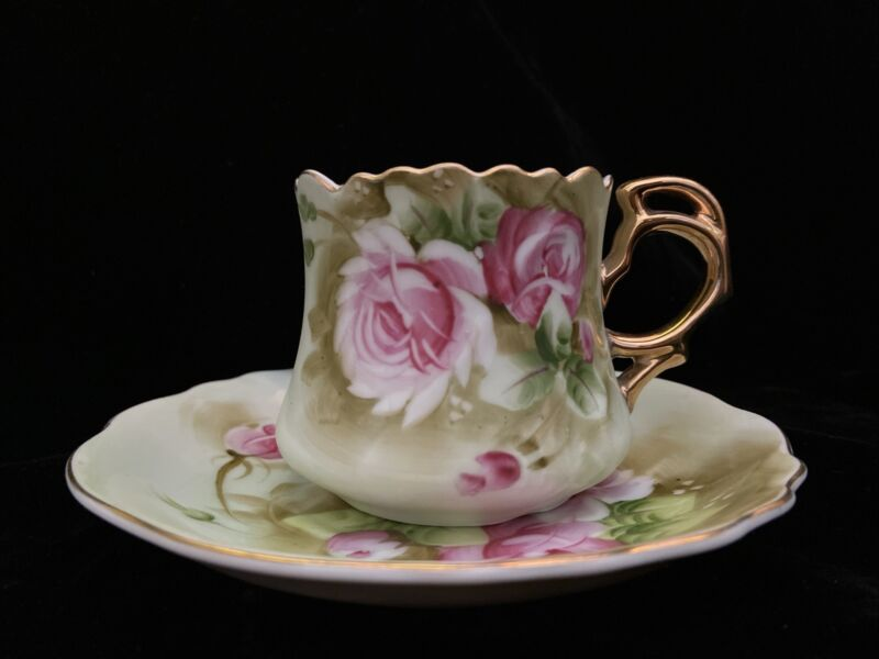 Vintage Lefton China Hand Painted Heritage Rose Tea Cup and Saucer Set #3067