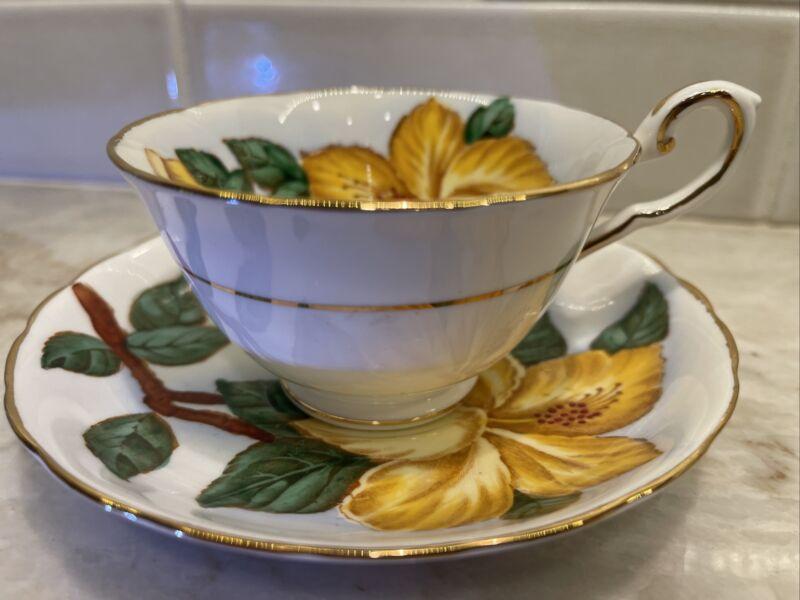 "Tuscan Fine English Bone China Hawaiian Flowers 5.5"" Saucer Cup Yellow Hibiscus"
