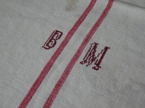 Antique European Feed Sack GRAIN SACK BM Monogram  # 9987
