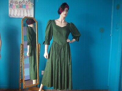 Vintage 80s Green Maxi Edwardian Laura Ashley Dress. Size 12