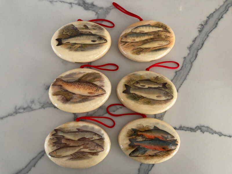 Set of 6 Vintage Oval Shaped - Fish - Christmas Ornament - Double Sided