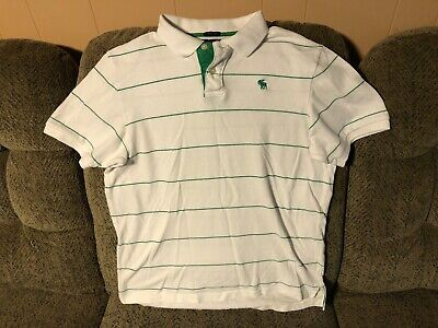 Abercrombie Fitch  Muscle Polo Shirt Mens Size XL Green/White Stripe. Moose Logo