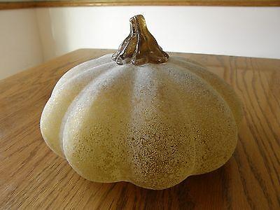 Pottery Barn Sandblasted Glass Pumpkin-Fall/Autumn/Thanksgiving decoration-New