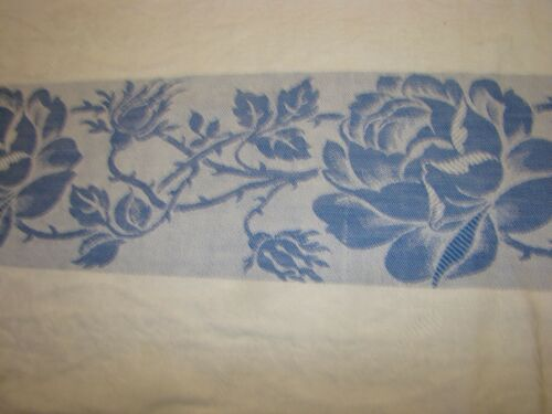 "Vintage Damask Brocade Tablecloth Floral Bouquet BLUE ROSES TRIM 100"" x 60"""