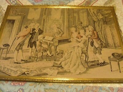 """Large Vintage Fabric Victorian Tapestry Wall Art Child Playing Piano 34"""" x 24"""", used for sale  Florence"""