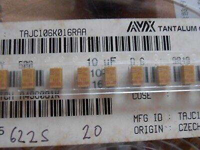 100pcs Tajc106k016raa Tantalum Capacitor 10uf 16v 20 C Case Avx