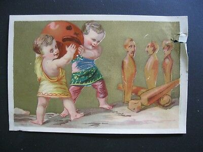 Victorian Trade Card RARE Halloween PUMPKIN Devil Bowling PIns Game Kids 42](Halloween Pins Craft)
