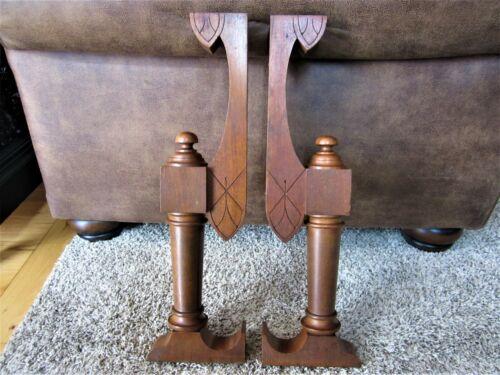 Pair Eastlake Furniture Fluted Column Brackets Walnut Shelf Corbel Victorian Leg