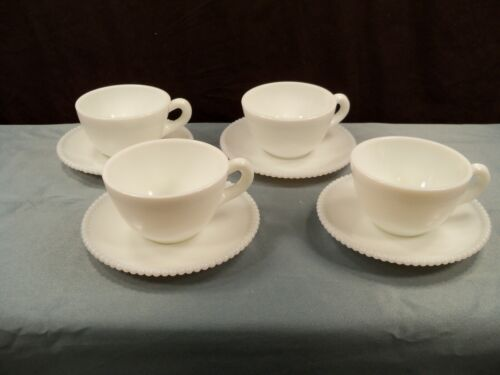 4 Westmoreland Milk Glass Beaded Edge Cup & Saucer Sets