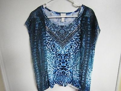 CHICOS WOMENS SIZE 14  PULL OVER Blouse TOP SHEER ANIMAL PRINT WITH BLING