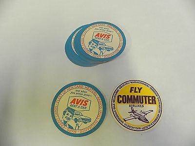 Lot  18  Nos Vtg Avis Rental Car   Commuter Airlines Beer Drink Coaster  D9