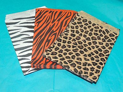 30 5x7 Zebra Paper Bags, Leopard Striped Colored Party Merchandise goody bags