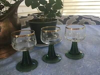 VINTAGE 3 TRADITIONAL GERMAN ROEMER WINE GLASSES FOOTED & ETCHED 4 OZ GERMANY