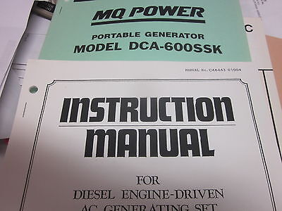 Multiquip Dca-600ssk Portable Generator Instructions Parts Manual
