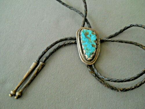 Southwestern Native American Navajo Morenci Turquoise Sterling Silver Bolo Tie