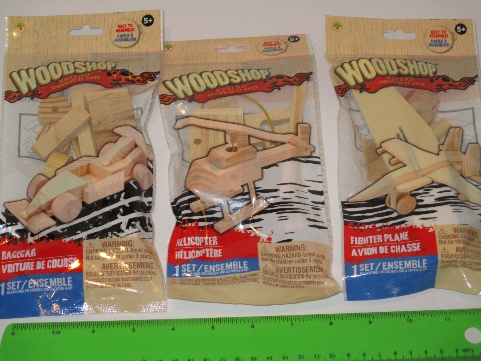 Wood Model Kits Lot of 3 - REAL Wood Helicopter, Airplane &