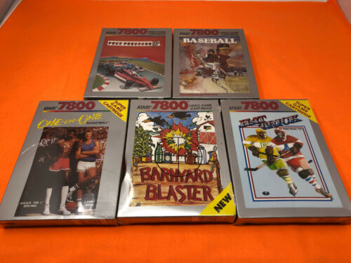 ATARI 7800 LOT OF 5 BRAND NEW FACTORY SEALED GAME GAMES BARNYARD POLE HAT TRICK