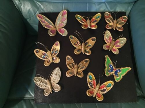 Vintage MCM Butterfly Christmas Tree Ornaments Clip-On Made in Japan Lot of 10