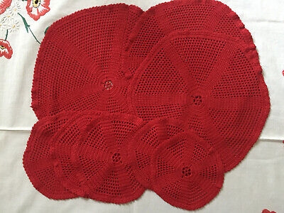 VINTAGE Set of 8 Round Red Crochet Lace Handmade Table Centre & Table Mats