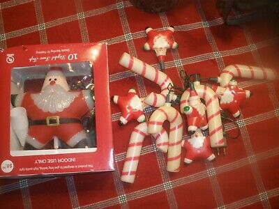 "VTG blow mold tree topper star santa light up 7""W +10 STRING LIGHTS W/CANES RARE"