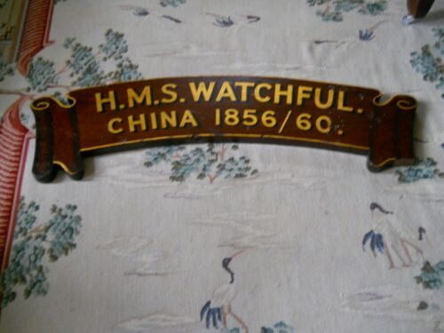 British Royal Navy  HMS Watchful Honors Board - Second Opium War  1856-1860