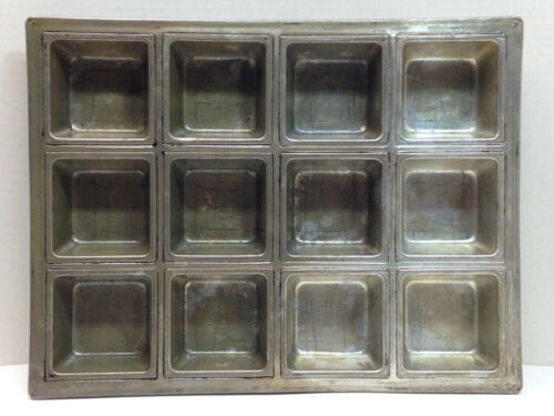 """VTG Lockwood 12 Squares Baking Muffin Cake Pan 10.5x13.75x1.75"""" Heavy Commercial"""