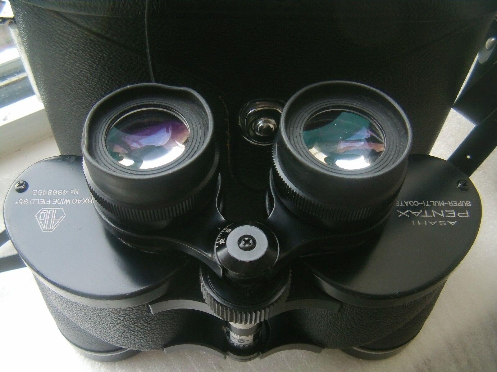 Pentax wide angle 9.5 degrees 8X40 BINOCULARS rubber eyecups case straps caps
