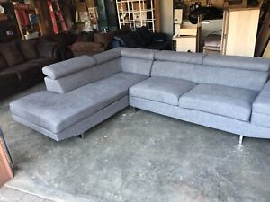 Grey Modern Sectional (Minor Pet Scratches)