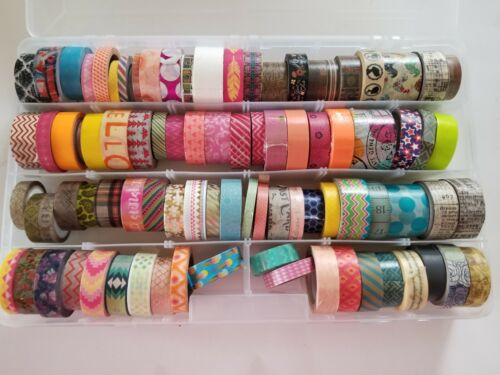 Lot Of 88 crafters Washi Decorative Tape rolls New and Used Mixed w/case