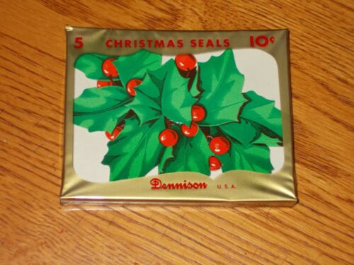 """VTG CHRISTMAS DENNISON WRAPPING PAPER SEALS HOLLY MIB NOS LARGE JUMBO 3"""" X 4"""""""