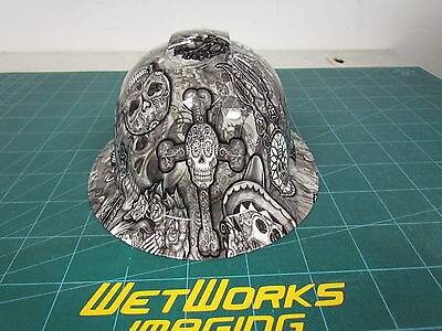 Hard Hat FULL BRIM custom hydro dipped , OSHA approved DAY OF THE DEAD  NEW