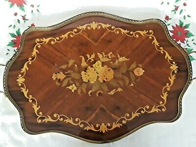 Vintage ITALIAN MARQUETRY WOOD FLORAL INLAY Large Handled Tray 21