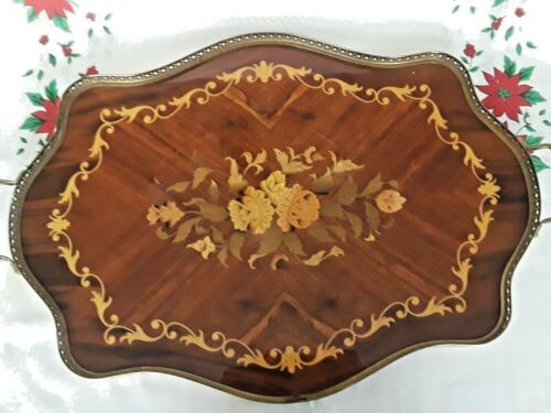 """Vintage ITALIAN MARQUETRY WOOD FLORAL INLAY Large Handled Tray 21"""" x 16"""""""
