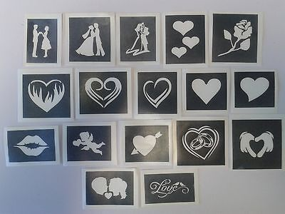 St. Valentines themed stencils for etching on glass craft   love hearts couple  - Themes For Couples