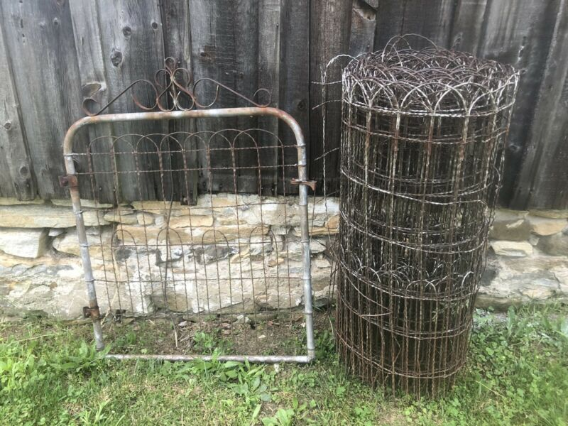 "Vtg  Twisted Wire Garden Fence Gate 50 Ft Roll  41"" Tall Cottage Farm Garden"