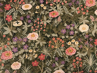 "Vintage 1960 Pat Albeck 'Italian Garden' Green Floral Cotton FQ 22x18"" Gorgeous"