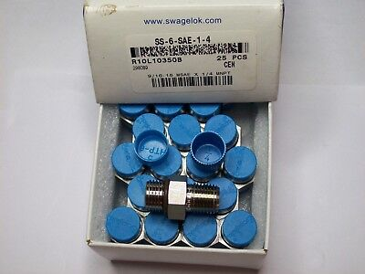 1-swagelok Stainless Steel Adapter 14 Npt X 916-18 Male Saems Ss-6-sae-1-4