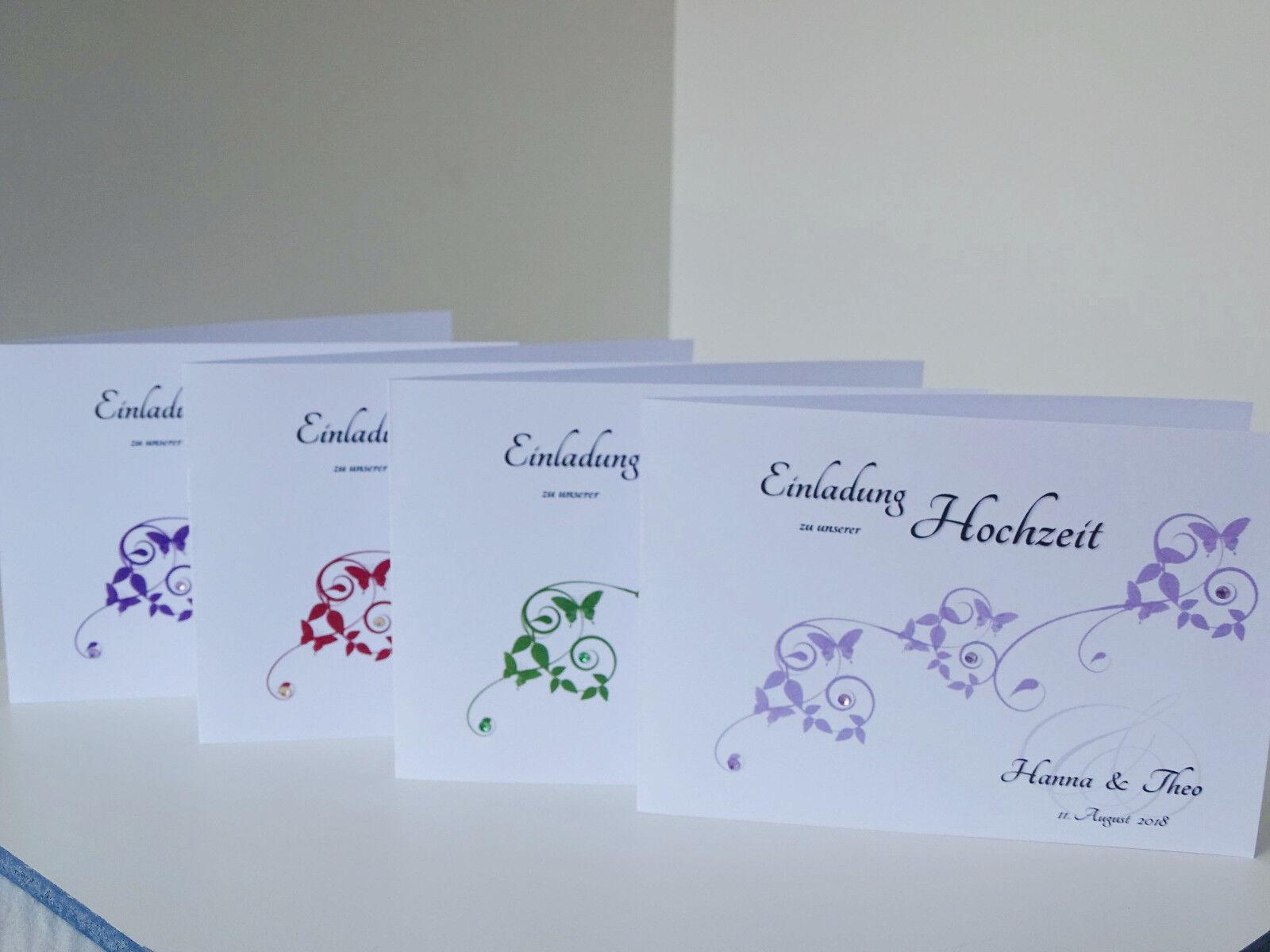 Einladungskarten Einladungen Hochzeit * Save the date * Strass + Umschlag + Text