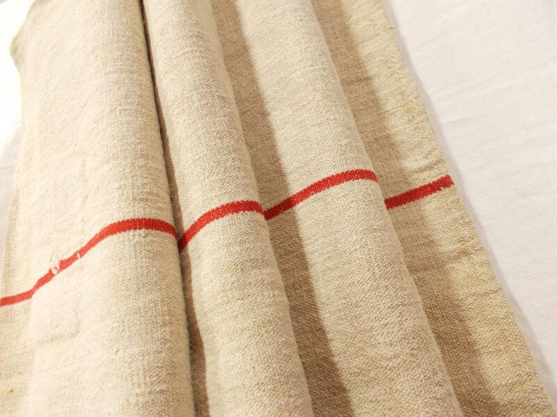 Vtg Antique RED STRIPE Rustic French HEMP LINEN Fabric FEED SACK GRAIN BAG 21X50