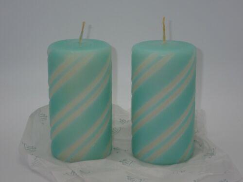 "Lot 2 NEW PartyLite Pillar Candle 3"" x 5"" VANILLA MINT Holiday Swirl Design NIB"