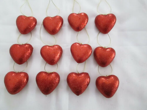 "Pkg of 12- Miniature 1-3/4"" Red Glitter Heart Valentines Day Ornaments NEW"