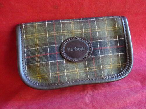 A VERY GOOD LITTLE USED BARBOUR FLEECE LINED FLY WALLET